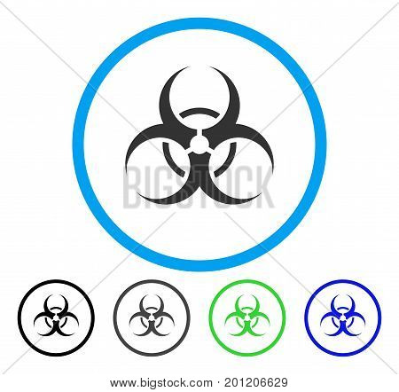 Biohazard Symbol rounded icon. Vector illustration style is a flat iconic symbol inside a circle, black, gray, blue, green versions. Designed for web and software interfaces.