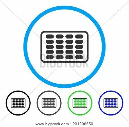 Blister rounded icon. Vector illustration style is a flat iconic symbol inside a circle, black, grey, blue, green versions. Designed for web and software interfaces.