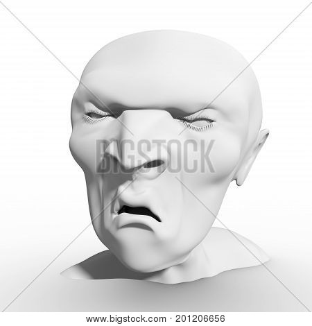 Man has a grin as if he was reacting to something he saw or just came up with a bad idea. Human emotions expression. 3D rendering