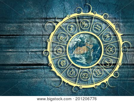 Astrological symbols in the circle. Earth planet in the center of ornament. Wood texture