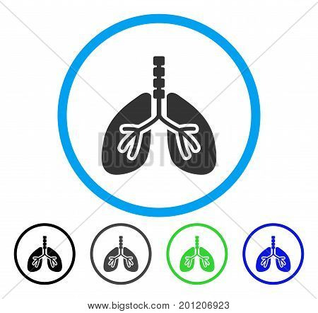 Breathe System rounded icon. Vector illustration style is a flat iconic symbol inside a circle, black, gray, blue, green versions. Designed for web and software interfaces.
