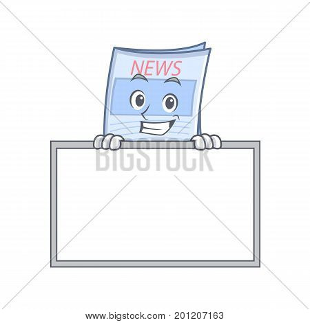 Grinning with board newspaper character cartoon style vector illustration