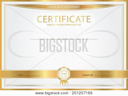 Certificate, Diploma of completion (abstract design template, background) with gold frame , white (light) pattern and silver Infinity symbol