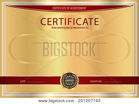 Certificate, Diploma of completion (abstract design template, background) with gold frame, dark red pattern and Infinity symbol