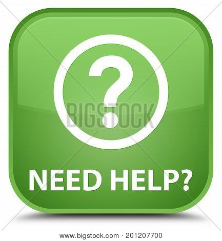 Need Help (question Icon) Special Soft Green Square Button