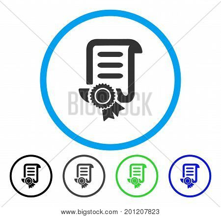 Certified Scroll Document rounded icon. Vector illustration style is a flat iconic symbol inside a circle, black, grey, blue, green versions. Designed for web and software interfaces.