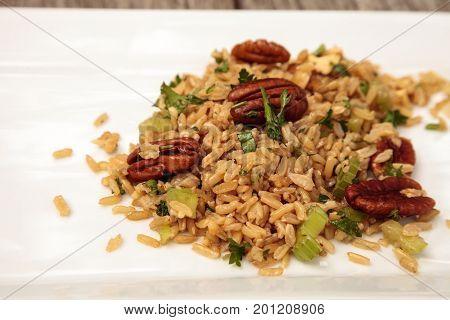 Healthy Pecan Nut Brown Rice With Cilantro
