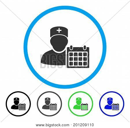 Doctor Appointment rounded icon. Vector illustration style is a flat iconic symbol inside a circle, black, grey, blue, green versions. Designed for web and software interfaces.