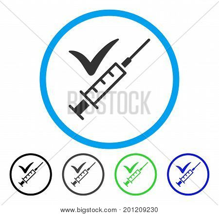 Done Vaccination rounded icon. Vector illustration style is a flat iconic symbol inside a circle, black, grey, blue, green versions. Designed for web and software interfaces.