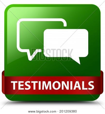 Testimonials Green Square Button Red Ribbon In Middle