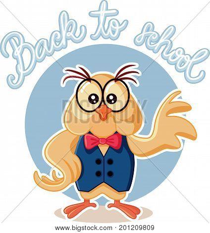 Cute Owl Wearing Eyeglasses Cartoon Vector Illustration