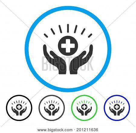 Medical Prosperity rounded icon. Vector illustration style is a flat iconic symbol inside a circle, black, gray, blue, green versions. Designed for web and software interfaces.