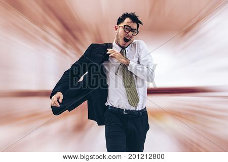 Rushing Businessman Running Or Racing With Time