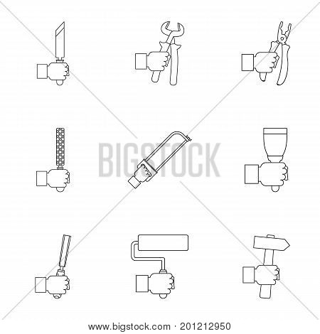 House repair instrument icon set. Outline set of 9 house repair instrument vector icons for web isolated on white background