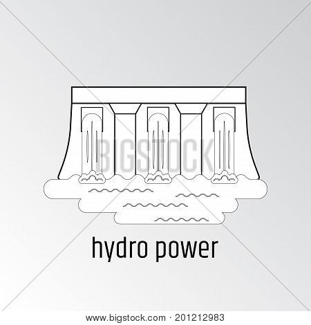 Vector illustration of hydro power. Linear design