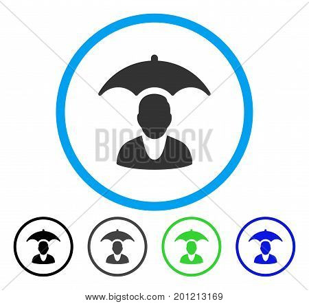 Patient Safety Umbrella rounded icon. Vector illustration style is a flat iconic symbol inside a circle, black, gray, blue, green versions. Designed for web and software interfaces.