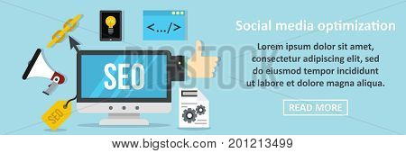 Social media optimization banner horizontal concept. Flat illustration of social media optimization banner horizontal vector concept for web