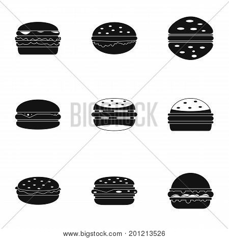 Cheeseburger food icon set. Simple set of 9 cheeseburger food vector icons for web isolated on white background