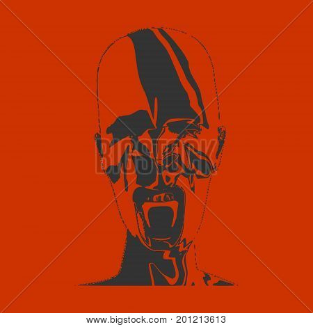Demonic ugly face. Devil scream character. Demon or monster screaming with in an open mouth as a front view horror face. . Head textured by curved stripes