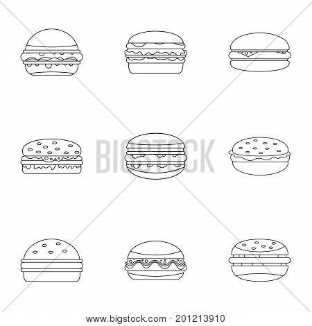 Unhealthy food icon set. Outline set of 9 unhealthy food vector icons for web isolated on white background