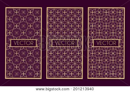 Golden geometric frames isolated on dark background. Stock vector illustration of graphic elements for luxury product design in art deco vintage trendy style.