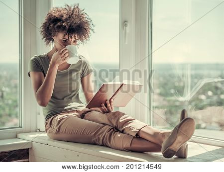 Beautiful Afro American Girl At Home