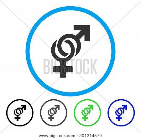 Sexual Symbols rounded icon. Vector illustration style is a flat iconic symbol inside a circle, black, gray, blue, green versions. Designed for web and software interfaces.