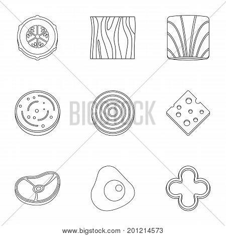 Eco sliced vegetables icon set. Outline set of 9 eco sliced vegetables vector icons for web isolated on white background