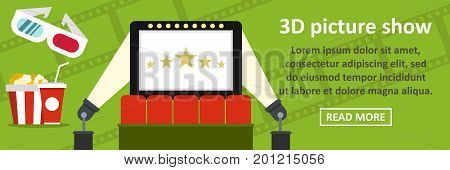 3d picture show banner horizontal concept. Flat illustration of 3d picture show banner horizontal vector concept for web