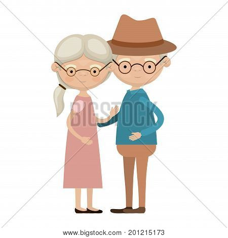 colorful full body elderly couple embraced grandmother ponytail hairstyle in dress and grandfather with hat and glasses vector illustration