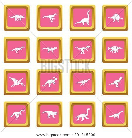Dinosaur icons set in pink color isolated vector illustration for web and any design