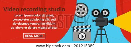 Video recording studio banner horizontal concept. Flat illustration of video recording studio banner horizontal vector concept for web