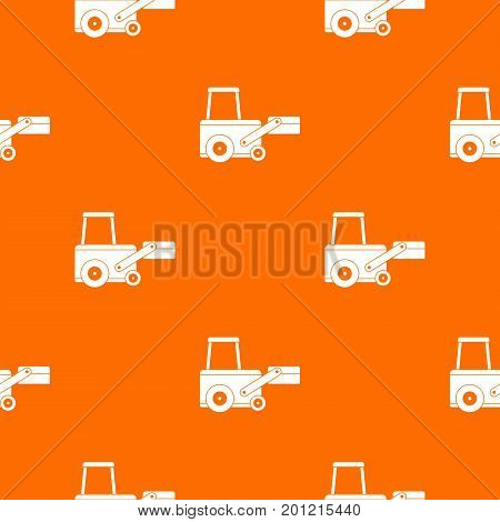 Truck to lift cargo pattern repeat seamless in orange color for any design. Vector geometric illustration