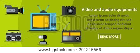 Video and audio equipments banner horizontal concept. Flat illustration of video and audio equipments banner horizontal vector concept for web