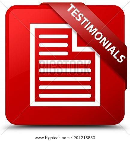 Testimonials (page Icon) Red Square Button Red Ribbon In Corner