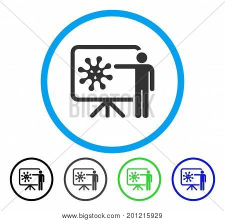 Virus Lecture rounded icon. Vector illustration style is a flat iconic symbol inside a circle, black, gray, blue, green versions. Designed for web and software interfaces.