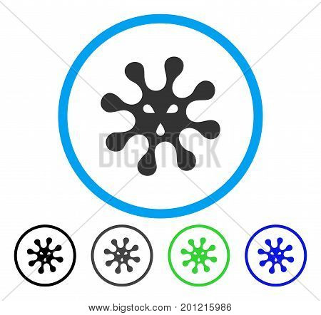 Virus rounded icon. Vector illustration style is a flat iconic symbol inside a circle, black, grey, blue, green versions. Designed for web and software interfaces.