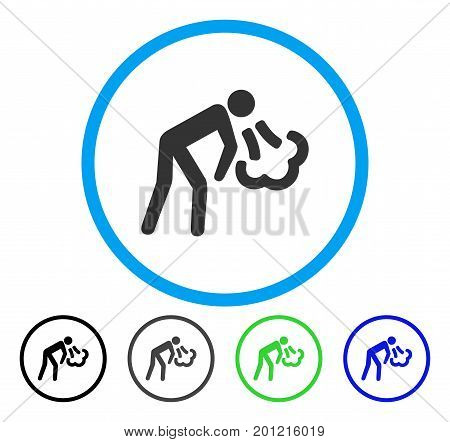 Vomiting rounded icon. Vector illustration style is a flat iconic symbol inside a circle, black, gray, blue, green versions. Designed for web and software interfaces.