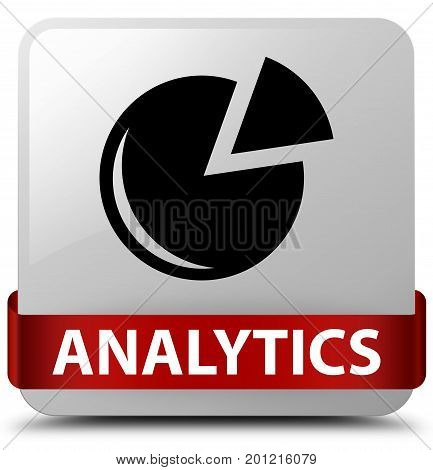 Analytics (graph Icon) White Square Button Red Ribbon In Middle
