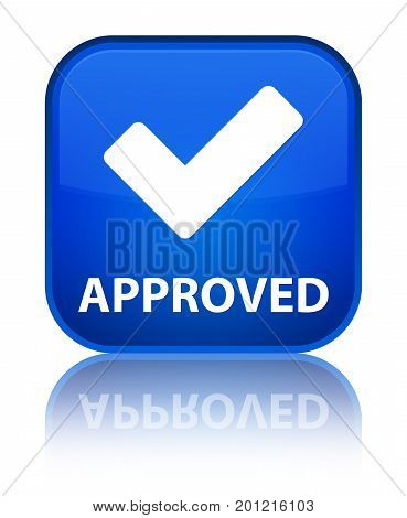Approved (validate Icon) Special Blue Square Button