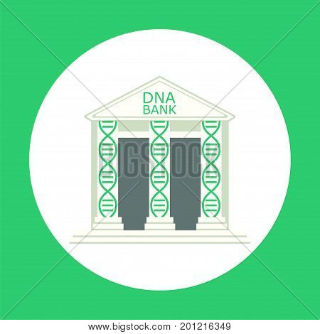 DNA banking. Stock vector illustration of a building with columns formed by double helix. Storage for cryopreservation of body samples for regenerative medicine and scientific purpose. poster