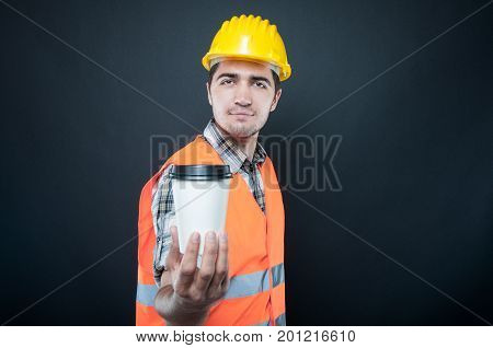Constructor Wearing Equipment Showing Takeaway Coffee Cup