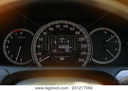 Speedometer Drive, Odometer Scale Road Trip, Fuel Engine Meter In Modern Vehicle Car Technology