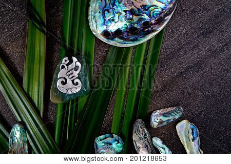 New Zealand - Maori Themed Objects - Metal And Greenstone Pendant With Flax Leaves And Abalone Shell