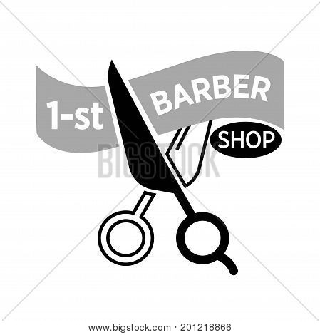 Barber shop logo template for premium 1 first barbershop salon. Vector isolated icon of scissors cutting ribbon for hairdresser coiffeur or hipster trendy haircutter sign