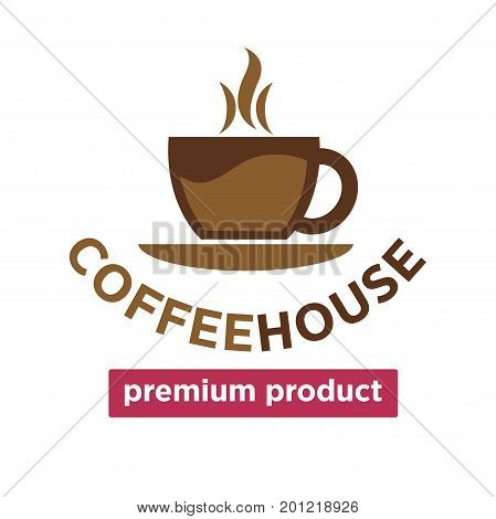 Coffeehouse logo template of coffee cup steam for coffee product shop. Vector isolated icon of hot steamy americano, espresso or cappuccino mug for premium coffeeshop cafeteria or cafe sign design