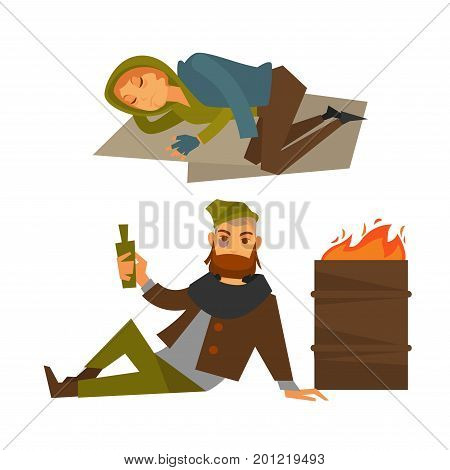 Poor homeless people that spend nights on streets. Woman sleeps on cardboard sheets and man with blue eye lies and holds bottle of alcohol drink near barrel with fire isolated vector illustrations.