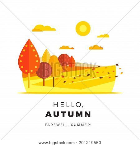 Hello Autumn Promotion Web Banner With Greeting Text. Promo Fall Season Discount Layout With Rural L