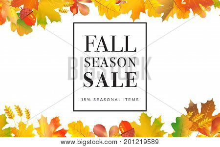 Sale Promotion Web Banner With Autumn Background. Promo Fall Season Discount Layout With Floral Orna