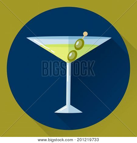 vector illustration. round flat icon, Martini and olives